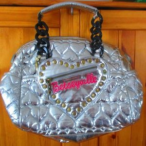 Betseyville Silver Metallic Quilted Tote w/ Studs